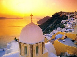 santorini-church-sunset